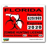 Florida FL Zombie Hunting License Permit Red - Biohazard Response Team - Window Bumper Locker Sticker