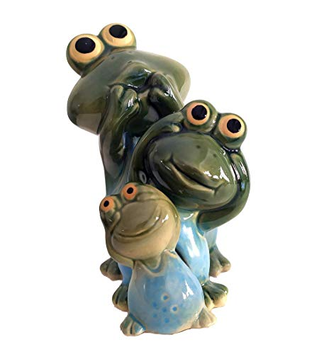 HOMERRY Hear-No, See-No, Speak-No Evil Frog Figurines Porcelain Frogs Statues Three Truths of Man Figurine for Home Decor,Bookshelf Ornament