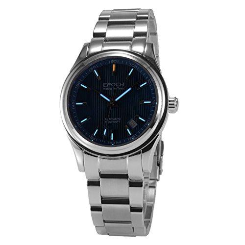EPOCH 6029G tritium blue luminous steel strap sapphire mirror mens business automatic self wind mechanical wrist watch -  EPOCH 6029G N blue steel blue
