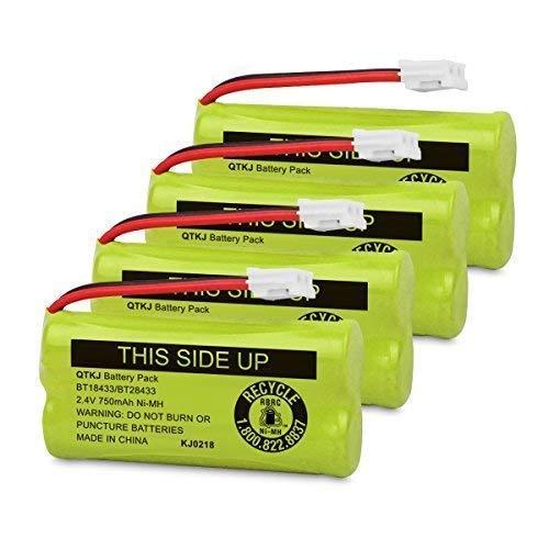 QTKJ BT184342 BT284342 BT18433 BT28433 BT-1011 BT-8300 Cordless Phone Battery for AT&T CL80109 CL81109 Vtech CS6209 CS6219 CS6229 DS6301 DS6151 DS6101 BT-1018 BT-1022 Uniden DCX400 Handset (4-Pack)