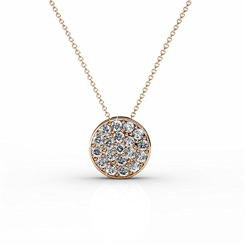 Cate & Chloe Nelly Valor White Gold Plated Pave Stone Necklace w/Swarovski Crystals, Modern Trendy Beautiful Round Cut Diamond Cluster Necklace, Wedding Statement Necklaces (Rose Gold) (Circles Pave Necklace Swarovski)