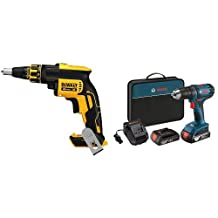 DEWALT DCF620B 20-Volt MAX XR Li-Ion Brushless Drywall Screw Gun Bare Tool & Bosch DDB181-02 18-Volt Lithium-Ion 1/2-Inch Compact Tough Drill/Driver Kit with 2 Batteries, Charger and Contractor Bag