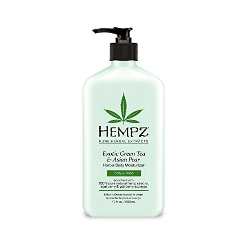 (Exotic, Natural Herbal Body Moisturizer with Pure Hemp Seed Oil, Green Tea and Asian Pear, 17 Fluid Ounce - Pure, Nourishing Vegan Skin Lotion for Dryness and Flaking with Acai and Goji Berry)