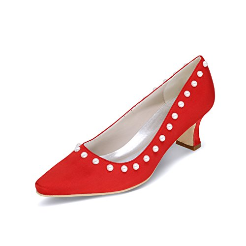 chaussures fait Pearl peu rugueuse rouge chaussures de chaussures avec pour chaussures talons profonde taille hauts femmes Bouche Le grande chaussures Qingchunhuangtang mariage fnatFqxIf
