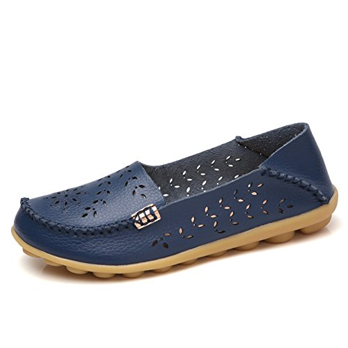 NineCiFun Womens Casual Flats Hollow Out Leather Slip On Driving Loafers(7.5 B(M) US,Dark Blue) by NineCiFun