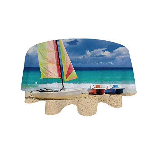 YOLIYANA Apartment Decor Waterproof Round Tablecloth,Exotic Cuban Beach with Wind Surfing Boat and Waves Tropic Coastal Picture for Living Room,31.4