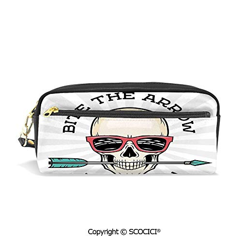 Printed Pencil Case Large Capacity Pen Bag Makeup Bag Hipster Skull with Punk Sunglasses and Arrow in Mouth Dead Vibes in Retro Graphic Print Decorative for School Office Work College Travel]()