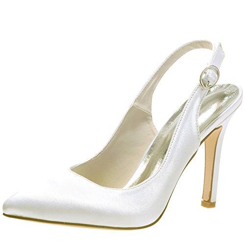 Loslandifen Donna Elegante Raso Scarpe A Punta Pompe Cinturino Alla Caviglia Tacco Alto Scarpe Da Sposa Avorio