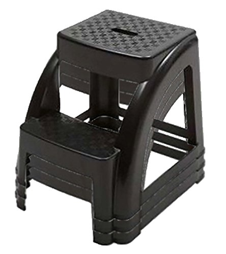2-Step 250 Pound Capacity Durable Utility Step Stool - Black (3)
