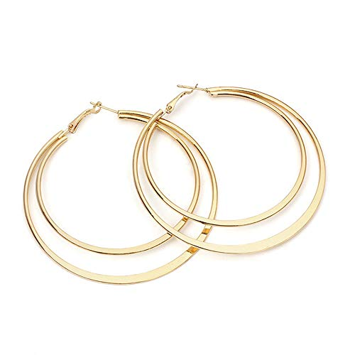 Large Hoops Earrings,Futemo Fashion Round Plated Gold Studs Silver Hypoallergenic Eardrop Dangle Jewelry for Women Girl