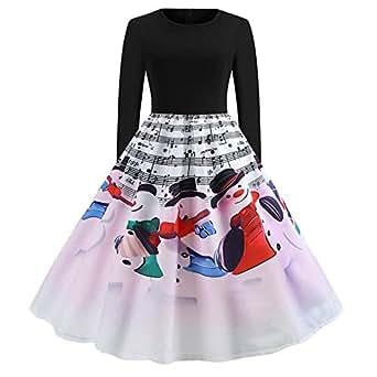 Christmas long Sleeve Spliced Printed Dresses For Women