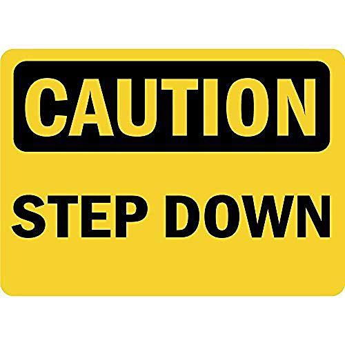 注意ステップダウン 金属板ブリキ看板警告サイン注意サイン表示パネル情報サイン金属安全サイン