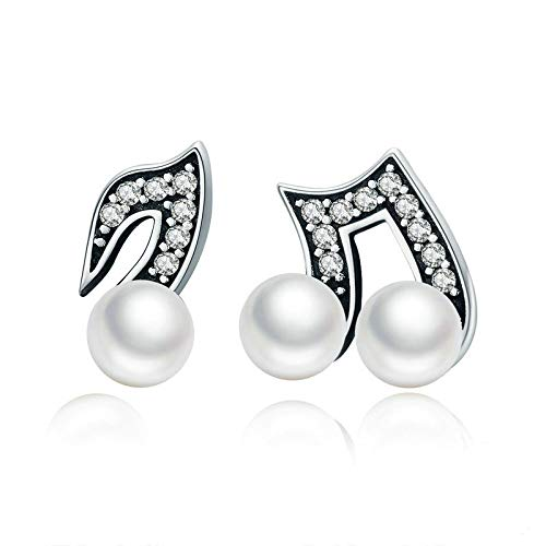 Mosaic Silver Show Quality (ChuangYing Korean Version of s925 Pure Silver Ear Nail Personality Notes Natural Freshwater Pearl Earrings with drilled Silver Ear Nails)