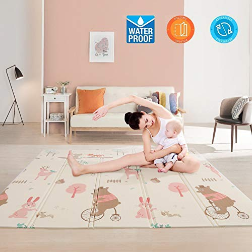 Baby Play Mat,Waterproof Foldable Non Toxic Playmat,79x71x0.6inch Extra Large Thick Foam Crawling Playmats for Infant,Toddler,Babies Learning to Crawl, Kid