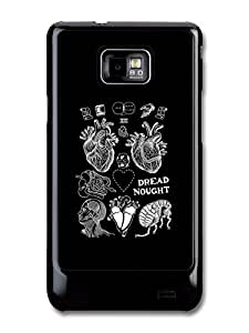 Dread Nought Heart and Baby Tattoo Style on Black carcasa de Samsung Galaxy S2