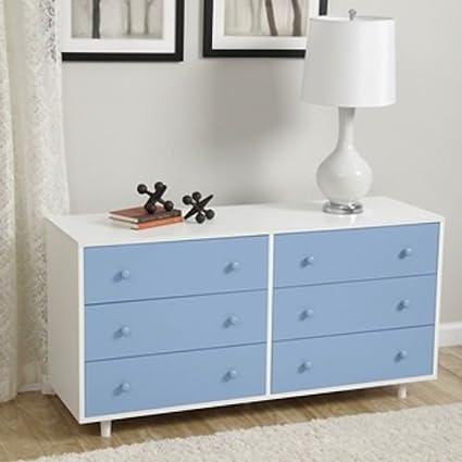 Dresser Drawer Modern White Chest Light Blue Boys Children ...