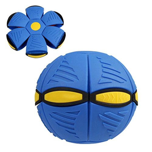 Ruhiku GW Novelty Magic Flying Saucer Ball (3 LED Lights) UFO Darts Flat Throw Deformation Catch Ball Frisbee Flying Discs Kids Toy Outdoor Soccer Game (Blue)