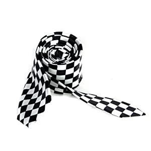 Mens Black White Plaid Checkered Necktie Neck Tie