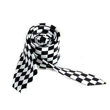 Para hombre Negro blanco Plaid cuello a cuadros cuello corbata ...