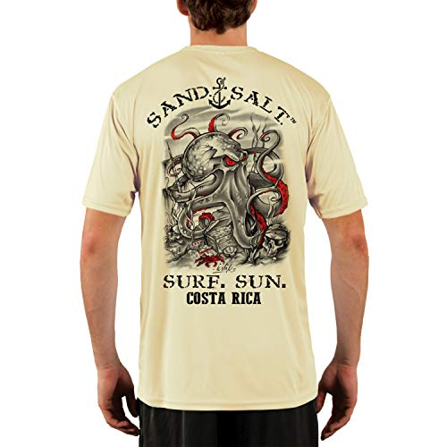 SAND.SALT.SURF.SUN. Costa Rica Octopus Treasure Men's UPF 50+ Short Sleeve T-Shirt XXX-Large Pale ()