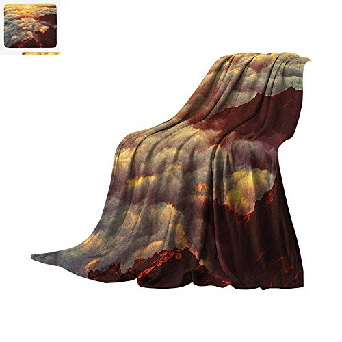 Clouds Digital Printing Blanket Sunset on The Hill Tops Above The Clouds Unusual Extreme Morning Glory Print Oversized Travel Throw Cover Blanket 60