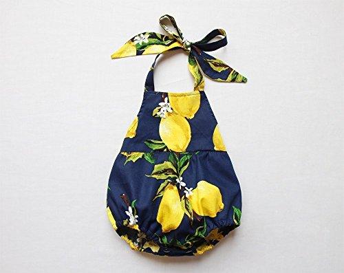 (Lemon Baby Girl Romper Navy Baby Bubble Romper Halter)