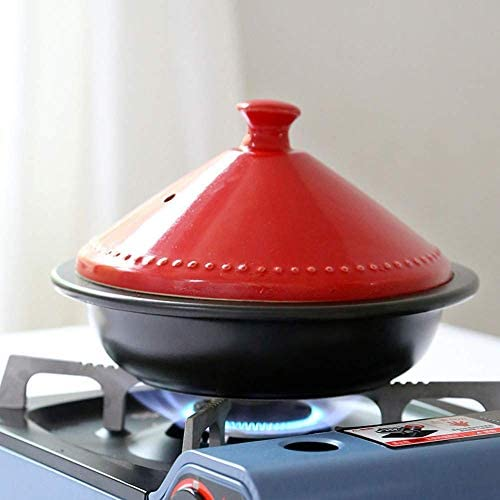 LEILEI Steamer Braiser Pan Healthy Saucepan Earthen Pot for Braising,Moroccan Tagine Pot with Red Lid,Ceramic Casserole with Basket Drawer Red 0.73quart