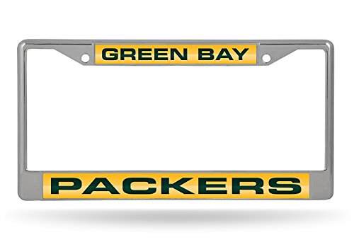 - Rico Industries NFL Green Bay Packers Laser Cut Inlaid Standard License Plate Frame, 6