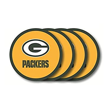 NFL Packers Molded Vinyl Coasters | Green Bay Packers Beverage Coasters - Set of 4