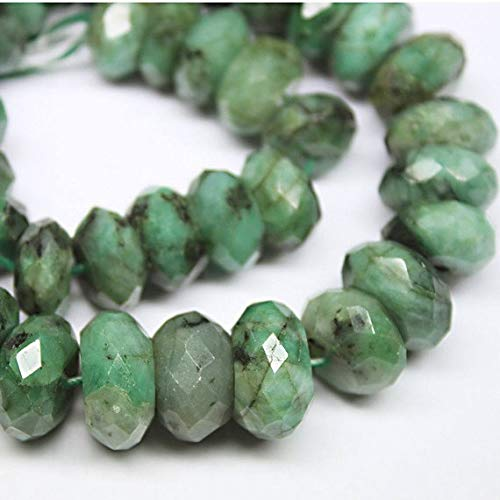 Beads Bazar Natural Beautiful jewellery Natural Green Emerald Faceted Rondelle Micro Gemstone Craft Loose Beads Strand 15