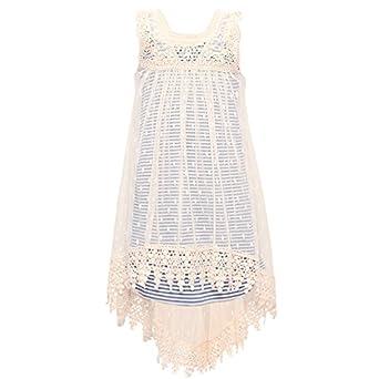 013dad2eb5b3 Amazon.com  Bonnie Jean Big Girls Blue Lace Overlay Stripe Hi-Low ...