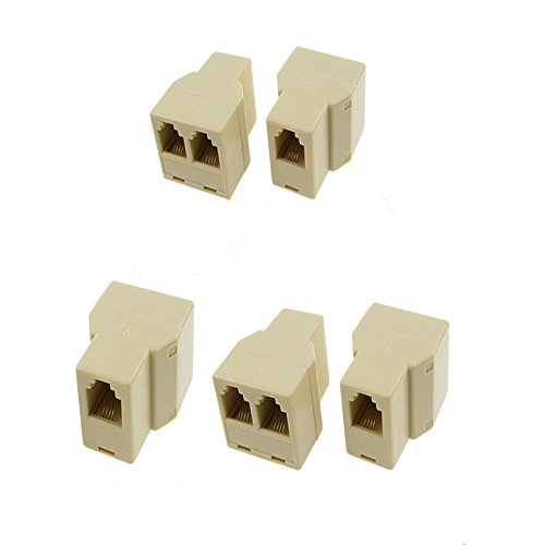 GFORTUN 5pcs RJ11 1 Female to 2 Female Plug Telephone Lines Cable Sharing Jointer Adapter