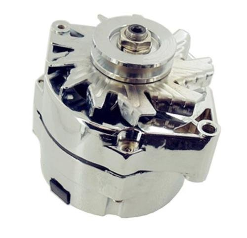 Chrome Alternator GM 120 AMP 1 Wire/3 wire for SBC BBC Chevy GMC Pontiac HOT ROD ()