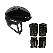 Razor V17 Youth Skateboard / Scooter Sport Helmet w/ Pro Knee & Elbow Pads Set