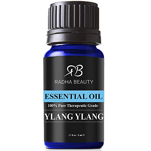 Radha Beauty Ylang Ylang Essential Oil, 5mL - 100% Natural Therapeutic Grade for Aromatherapy, Relaxation, Fatigue, Stress, Fragrance for Home & Office