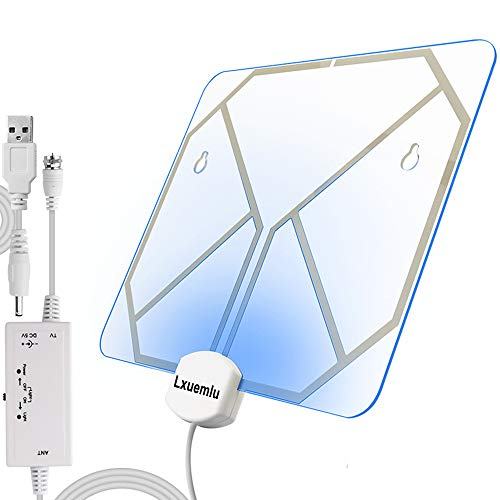 【2019 Newest】 TV Antenna Clear Acrylic Indoor Digital HDTV Antenna with Color Changing Lights - Home Decoration, Lxuemlu 60-80 Miles Range HD Antenna - Extremely High Reception