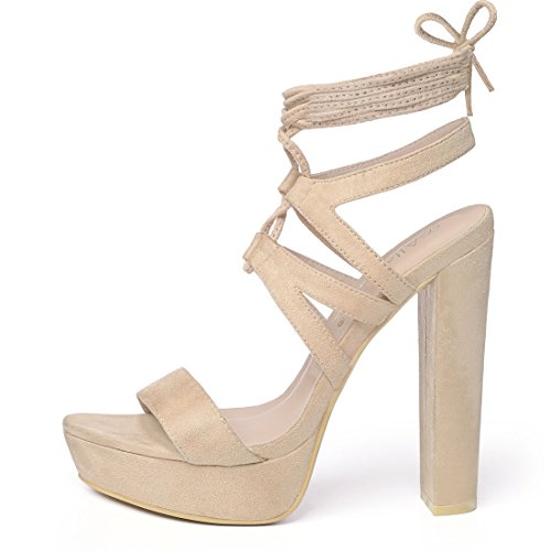 Lace Strappy K Beige Up Women Sandals Platform Allegra wtqTFx