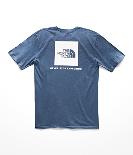 (The North Face Men's S & S Red Box Tee - Shady Blue & TNF White - L)