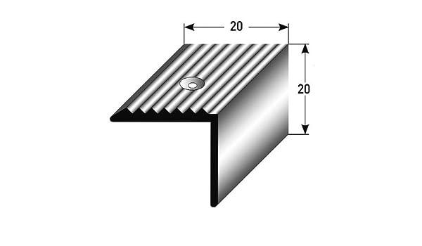 2 x 2,7 metros - Perfil de escalera / Perfil angular (20 mm x 20 mm) aluminio anodizado, perforado - color: plateado: Amazon.es: Hogar