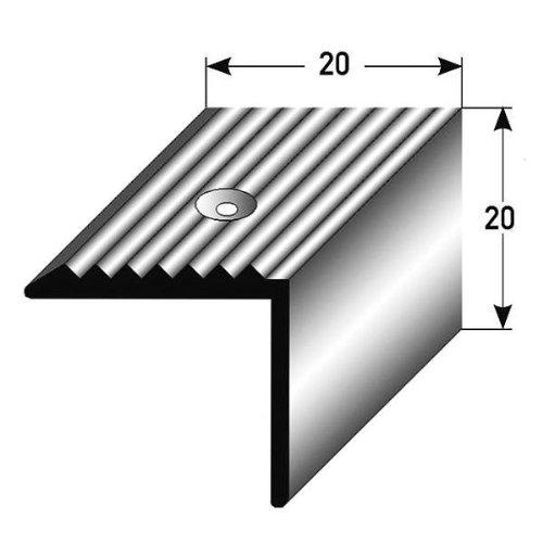 AUER Lot de 10 profilés angulaires pour nez de marche en aluminium anodisé avec perçages Argenté 1m x 20 mm x 20 mm