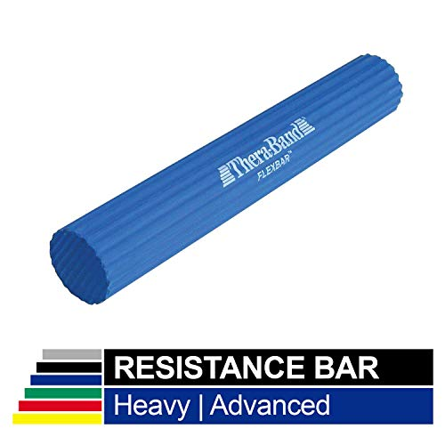 TheraBand FlexBar, Tennis Elbow Therapy Bar, Relieve Tendonitis Pain & Improve Grip Strength, Resistance Bar for Golfers Elbow & Tendinitis, Blue, Heavy, Advanced (Exercise Rubber Bands For Golfer)