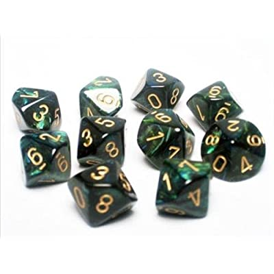 Chessex Dice Sets: Scarab Jade with Gold - Ten Sided Die d10 Set (10): Toys & Games