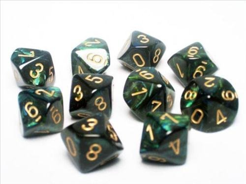 Chessex Dice Sets: Scarab Jade with Gold - Ten Sided Die d10 Set (10)