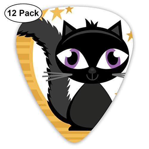 HOOAL Custom Guitar Picks, Halloween Cat On Moon Guitar Pick,Jewelry Gift For Guitar Lover,12 Pack for $<!--$5.23-->