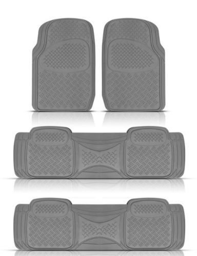 - BDK Heavy Duty VAN SUV Rubber Floor Mats - 4 Pieces 3 Rows Full Set- All Weather Trimmable Mat (Gray) - MT-713-711-GR_AMHD