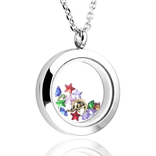 Zysta Silver Round Locket Pendant Necklace 25mm Glossy Stainless Steel Clear Glass Living Memory Floating Charms Stone Storage