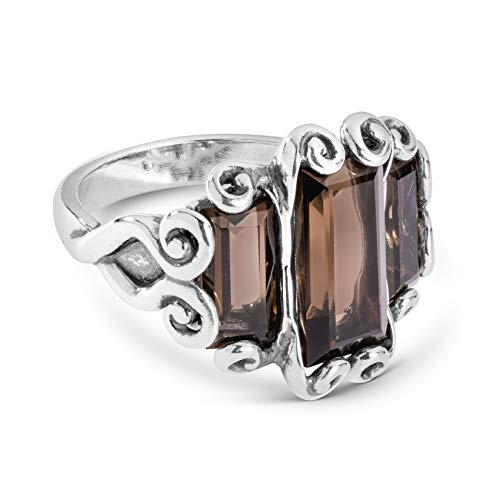 Carolyn Pollack Sterling Silver Smokey Quartz Gemstone Three Stone Ring Size 5 ()