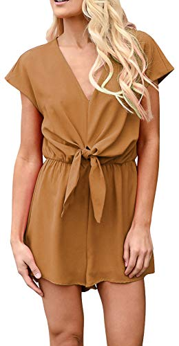 Longwu Women's Casual Bandage Chiffon Short Sleeve Deep V-Neck Short Jumpsuits Comfortable Beach Playsuits Rompers -