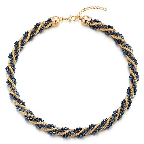 COOLSTEELANDBEYOND Gold Blue Statement Necklace Braided Wire Crystal Beads Chain Choker Collar, Party Dress Banquet