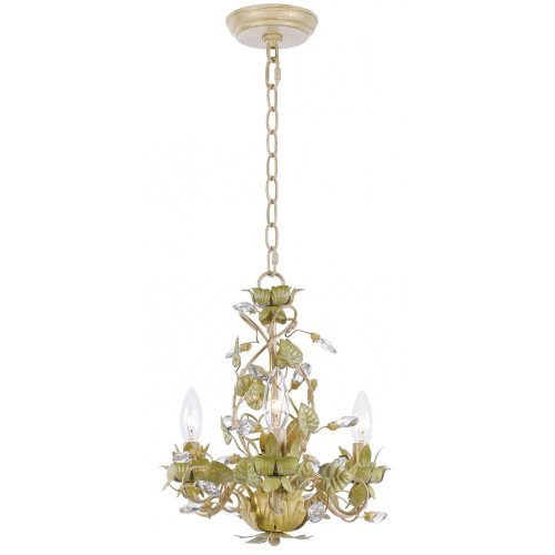 Crystorama 4843-CT Crystal Accents Three Light Mini Chandelier from Josie collection in Bronze/Darkfinish, 13.75 inches - Traditional Chandelette